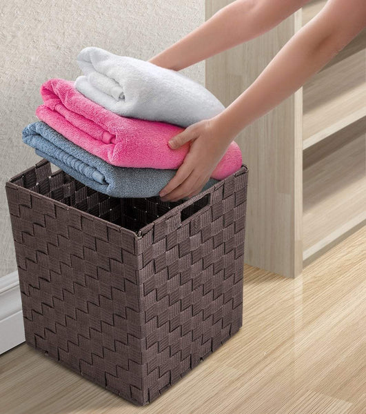 Storage sorbus foldable storage cube woven basket bin set built in carry handles great for home organization nursery playroom closet dorm etc woven basket bin cubes 2 pack chocolate
