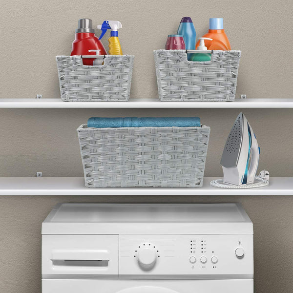 Storage organizer sorbus woven basket bin set storage for home decor nursery desk countertop closet cube organizer shelf stackable baskets includes built in carry handles set of 3 light gray