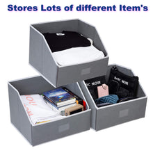 Load image into Gallery viewer, Purchase woffit linen closet storage organizers set of 3 foldable baskets to organize your sheets towels washclothes blankets clothing sweaters etc 100 organic fabric bins