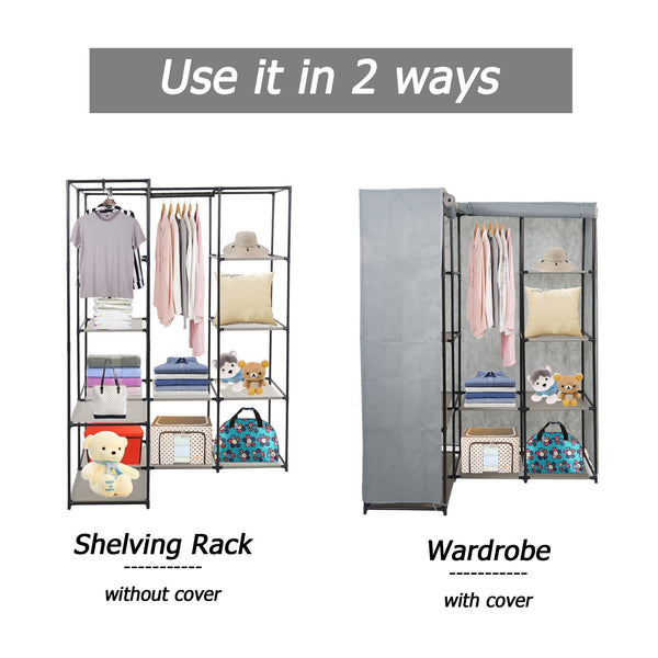Products dporticus portable corner clothes closet wardrobe storage organizer with metal shelves and dustproof non woven fabric cover in gray