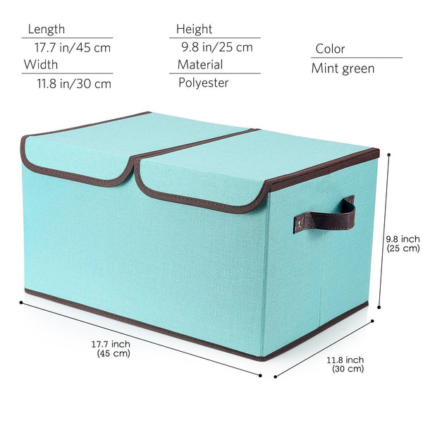 Selection larger storage cubes 4 pack senbowe linen fabric foldable collapsible storage cube bin organizer basket with lid handles removable divider for home office nursery closet 17 7 x 11 8 x 9 8
