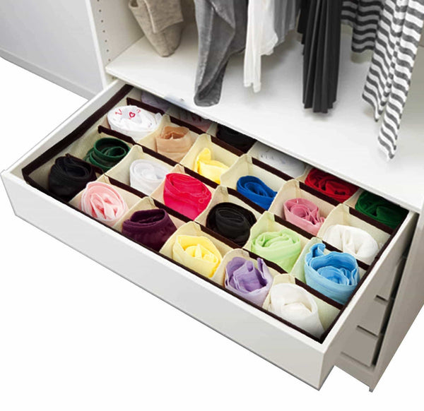 Top closet underwear storage organizer box for socks bra ties clothing lingerie underwear drawer 24 divider collapsible beige size 12 x 12 x 3 set of 2