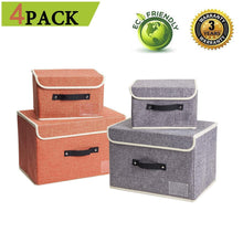 Load image into Gallery viewer, Best janes home 4 pack storage bins boxes linen collapsible cube set organizer basket with lid handle foldable fabric containers for clothes toys closet office nursery grey and orange