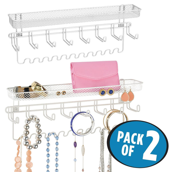 Results mdesign decorative metal closet wall mount jewelry accessory organizer for storage of necklaces bracelets rings earrings sunglasses wallets 8 large 11 small hooks 1 basket 2 pack white