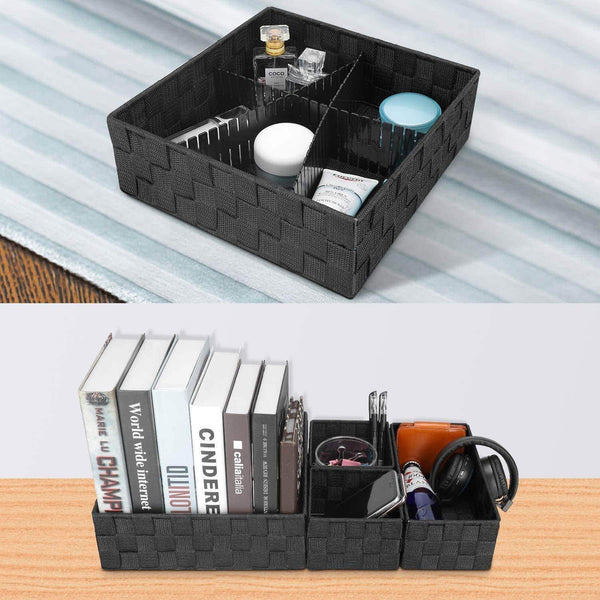 Cheap kedsum woven storage box cube basket bin container tote cube organizer divider for drawer closet shelf dresser set of 4 black