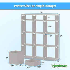 Latest 12 cube organizer set of storage cubes included diy cubby organizer bins cube shelves ladder storage unit shelf closet organizer for bedroom playroom livingroom office light grey