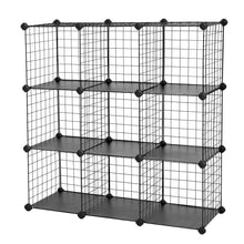 Load image into Gallery viewer, Try songmics metal wire cube storage 9 cube shelves organizer stackable storage bins modular bookcase diy closet cabinet shelf 36 6l x 12 2w x 36 6h black ulpi115h