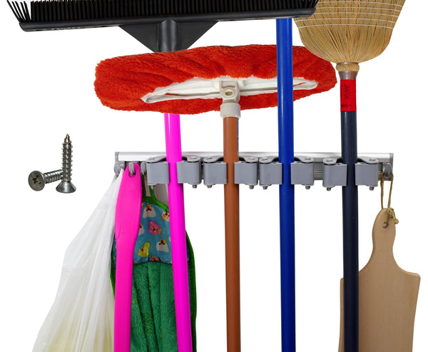 Save on not yet another mop broom holder clips hold everything better than rollers 4 sliding grippers and 4 hooks wall mount on aluminum rack by 2 screws only tools organizer for garden garage or closet
