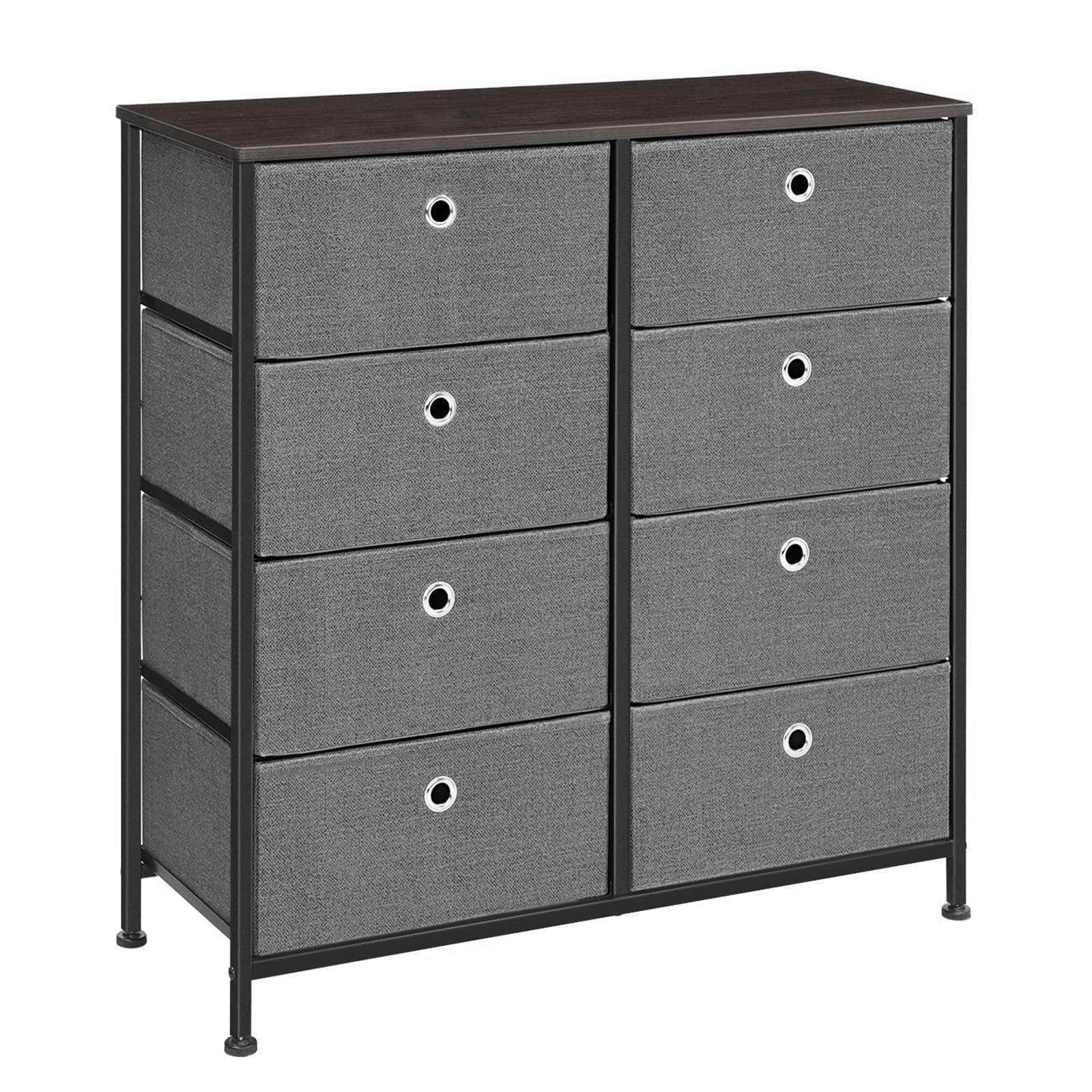 On amazon songmics 4 tier wide drawer dresser storage unit with 8 easy pull fabric drawers and metal frame wooden tabletop for closets nursery dorm room hallway 31 5 x 11 8 x 32 1 inches gray ults24g