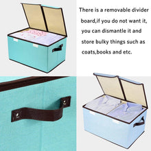Load image into Gallery viewer, Select nice larger storage cubes 4 pack senbowe linen fabric foldable collapsible storage cube bin organizer basket with lid handles removable divider for home office nursery closet 17 7 x 11 8 x 9 8