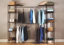 Load image into Gallery viewer, Try seville classics double rod expandable clothes rack closet organizer system 58 to 83 w x 14 d x 72 satin bronze