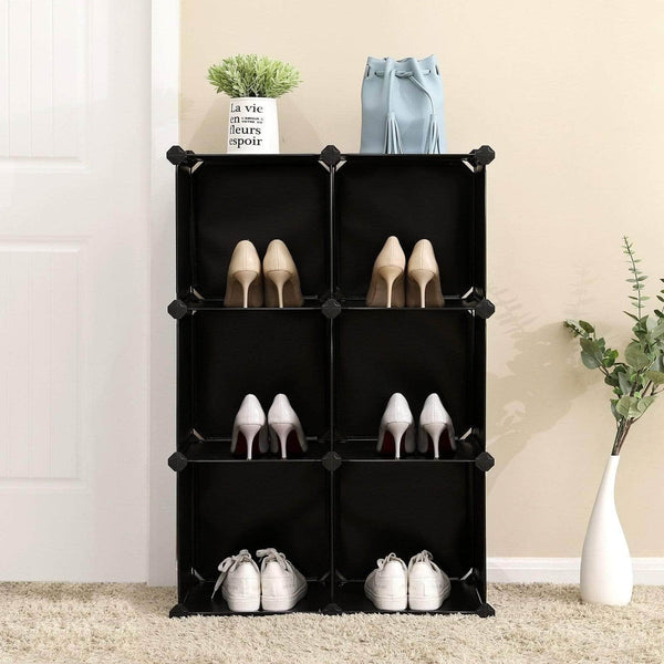 Great songmics cube storage organizer 6 cube closet storage shelves diy plastic closet cabinet modular bookcase storage shelving for bedroom living room office black with rubber hammer black ulpc06h