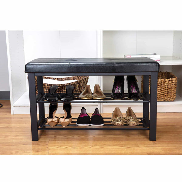 On amazon simplify f 0680 black storage bench shoe rack ottoman tufted padded seating for entryway bedroom closet hallway black