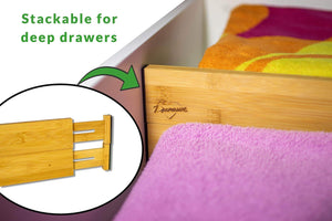 Storage drawer dividers bamboo kitchen organizers set of 6 spring loaded drawer divider adjustable expandable drawer organizer best for kitchen bedroom dresser baby drawers closet