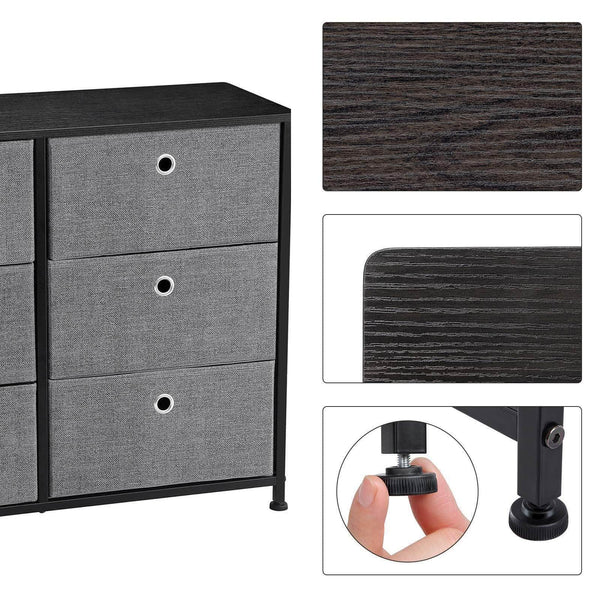 Home songmics 3 tier wide dresser storage unit with 6 easy pull fabric drawers metal frame and wooden tabletop for closet nursery hallway 31 5 x 11 8 x 24 8 inches gray ults23g
