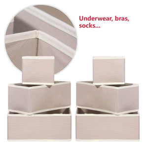 Latest diommell 9 pack foldable cloth storage box closet dresser drawer organizer fabric baskets bins containers divider with drawers for baby clothes underwear bras socks lingerie clothing beige 333