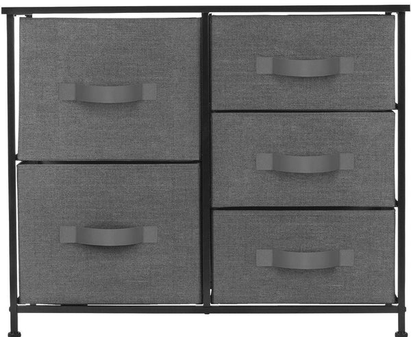 Heavy duty sorbus dresser with 5 drawers furniture storage tower unit for bedroom hallway closet office organization steel frame wood top easy pull fabric bins black charcoal