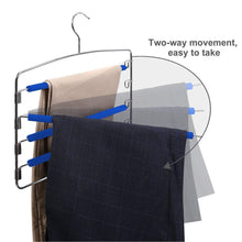 Load image into Gallery viewer, Products rosinking slack hangers swing arm pants 2 pack multi layers removeable stainless steel scarf slack hangers non slip clothes rack with foam padded rotatable hook closet space saving organizer
