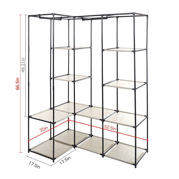 Order now dporticus portable corner clothes closet wardrobe storage organizer with metal shelves and dustproof non woven fabric cover in gray