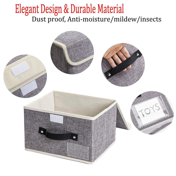 Budget friendly janes home 4 pack storage bins boxes linen collapsible cube set organizer basket with lid handle foldable fabric containers for clothes toys closet office nursery grey and orange