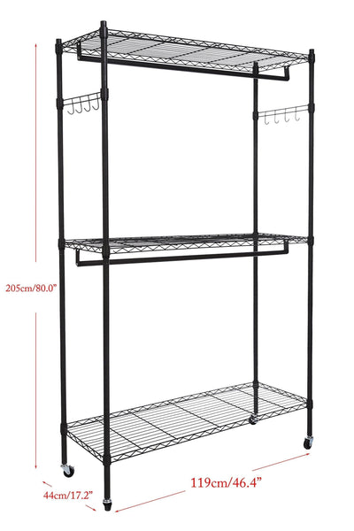 Discover the best homdox double rod closet 3 shelves wire shelving clothing rolling rack heavy duty garment rack with wheels and side hooks
