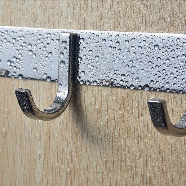 Related tiang hook rail coat rack with 5 hooks wall mounted adhesive satin finish hook rack hanger set of 2 15 inch stainless steel hook rack organizer for hat clothes bathroom towels closet door kitchen
