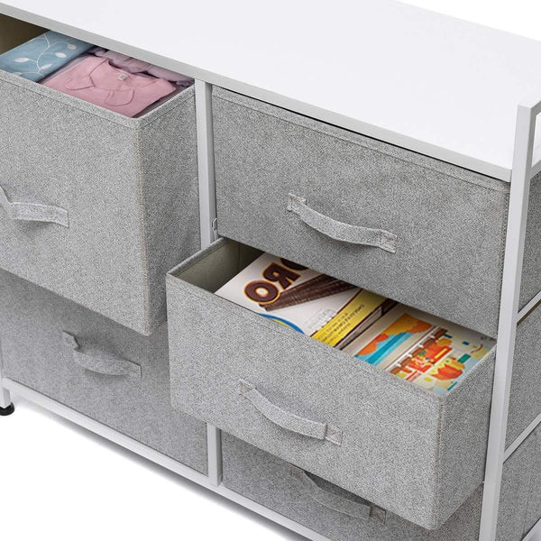Best kingso fabric 5 drawer dresser storage tower organizer unit with sturdy steel frame and easy pull faux linen drawers for bedroom living room guest room dorm closet grey