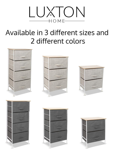 Budget friendly luxton home 2 drawer storage organizer 60 second fast assembly no tools needed small gray linen tower dresser chest dorm room essential closet bedroom bathroom 2d grey