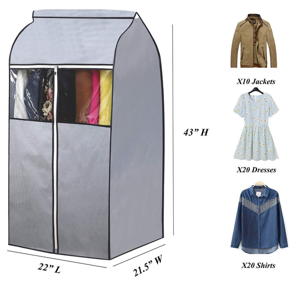 Buy now sleeping lamb garment bag organizer storage with clear pvc windows garment rack cover well sealed hanging closet cover for suits coats jackets grey