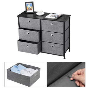Kitchen songmics 3 tier wide dresser storage unit with 6 easy pull fabric drawers metal frame and wooden tabletop for closet nursery hallway 31 5 x 11 8 x 24 8 inches gray ults23g