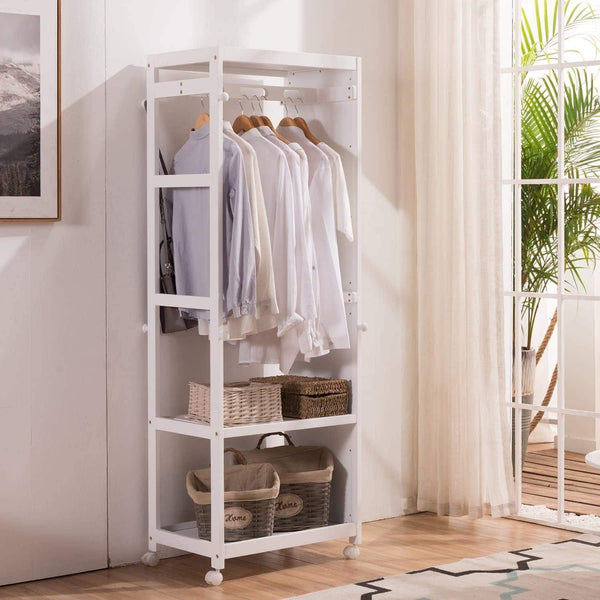 Heavy duty free standing armoire wardrobe closet with full length mirror 67 tall wooden closet storage wardrobe with brake wheels hanger rod coat hooks entryway storage shelves organizer ivory white