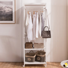 Load image into Gallery viewer, Get free standing armoire wardrobe closet with full length mirror 67 tall wooden closet storage wardrobe with brake wheels hanger rod coat hooks entryway storage shelves organizer ivory white