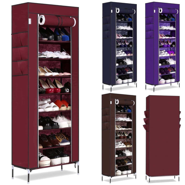 Kitchen bluefringe shoe rack with dustproof cover shoe closet shoe cabinet storage organizer dustproof 27 pairs shoe cabinet multi function shelf organizer navy blue 10 tier