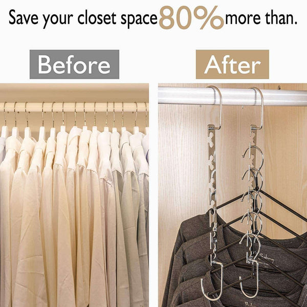 New star fly magic hangers space saving hangers magical clothing hanger with hook stainless steel wonder closet organizer 10 pack