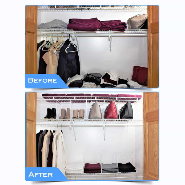 Results shelf dividers for closets sturdy closet organizer and storage separator to tidy your linen purses sweater more new 2019 titansecure metal shelf organizer work with 12 wire shelves set of 8
