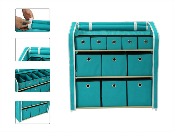 New homebi multi bin storage shelf 11 drawers storage chest linen organizer closet cabinet with zipper covered foldable fabric bins and sturdy metal shelf frame in turquoise 31w x12 dx32h