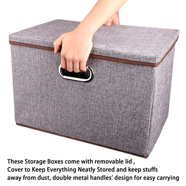 Kitchen large linen fabric foldable storage container 2 pack with removable lid and handles storage bin box cubes organizer gray for home office nursery closet bedroom living room