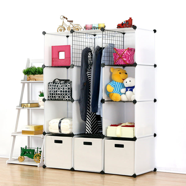 Select nice unicoo multi use diy plastic 12 cube organizer toy organizer bookcase storage cabinet wardrobe closet white with door sticker deeper cube white