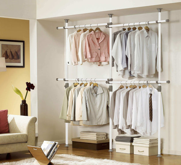 Top prince hanger one touch double 2 tier adjustable hanger holds 80kg176lb per horizontal bar clothing rack closet organizer 38mm vertical pole heavy duty garment rack phus 0033
