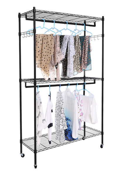 Exclusive homdox double rod closet 3 shelves wire shelving clothing rolling rack heavy duty garment rack with wheels and side hooks