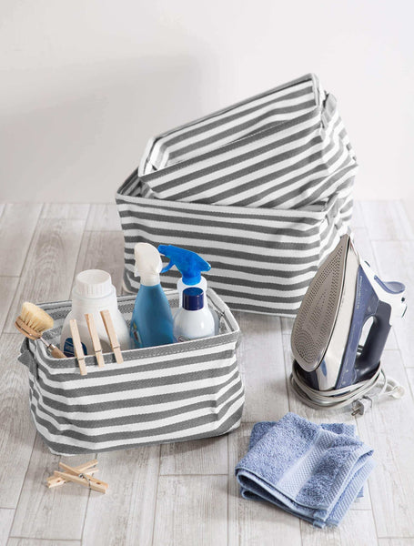 Exclusive dii cabana stripe collapsible waterproof coated anti mold cotton rectangle basket bin perfect for laundry room bedroom nursery dorm closet and home organization assorted set of 3 gray