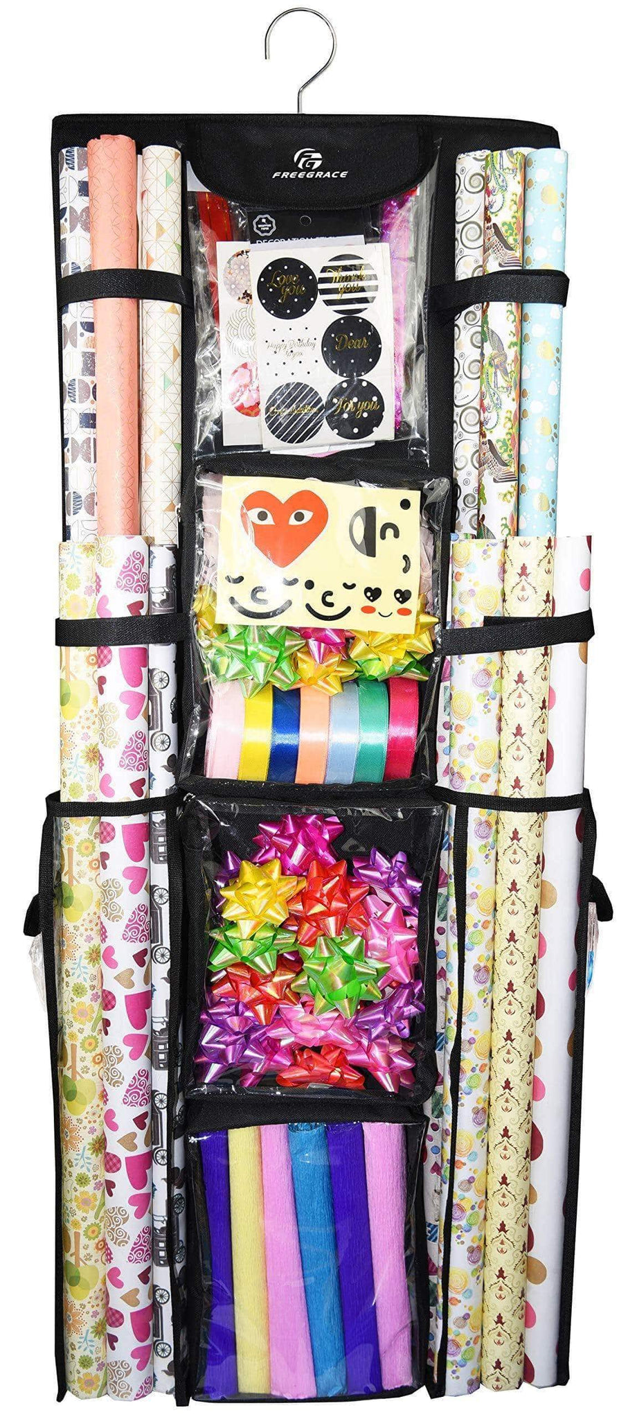 Kitchen freegrace double sided hanging gift wrap organizer large 16 x 41 wrapping paper rolls storage bag tearproof space saving closet gift bag organization solution black