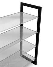 Load image into Gallery viewer, Selection internets best mesh shoe rack 4 tier free standing metal wood shoe organizer closet and entryway fits 16 pairs of shoes black silver