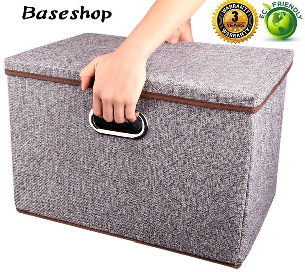 Heavy duty storage container organizer bin collapsible large foldable linen fabric gray box with removable lid and handles for home baby office nursery closet bedroom living room no peculiar smell 1 pack
