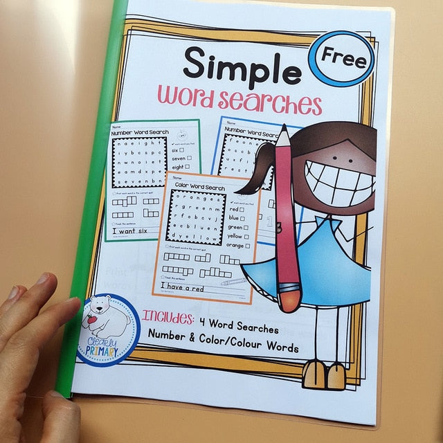 Educational Toys for Children Learn English Simple Word Search Bundle WorkSheets Interactive Phonics Coloring Practice Book Kids