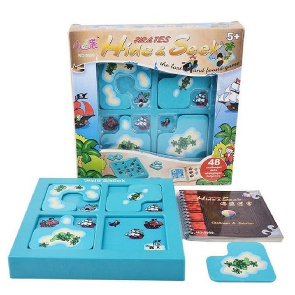 Pirates Hide&Seek IQ Board Games 48 Challenge With Solution Book Smart IQ Toys For Children Party Games Family Interactive Toys