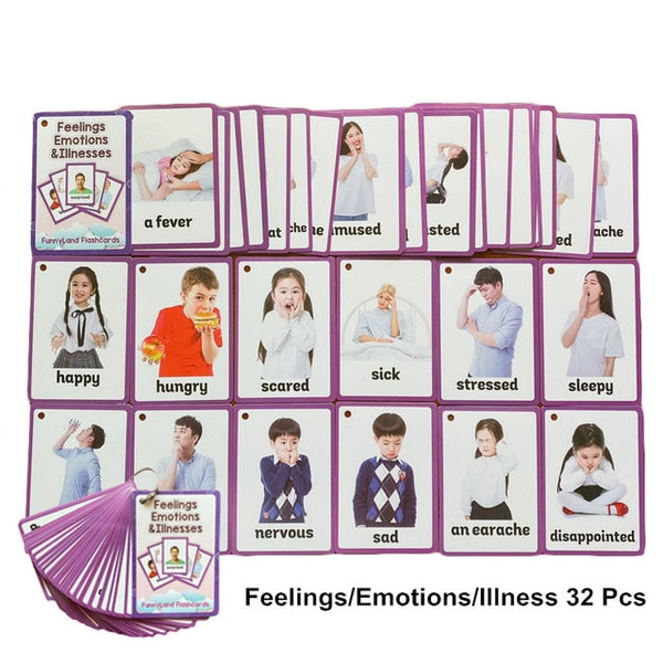 32Pcs/Set Feelings Emotions Illness English Word Card Flash Card Learning Educational Toy For Kids Children Pocket Card Gifts