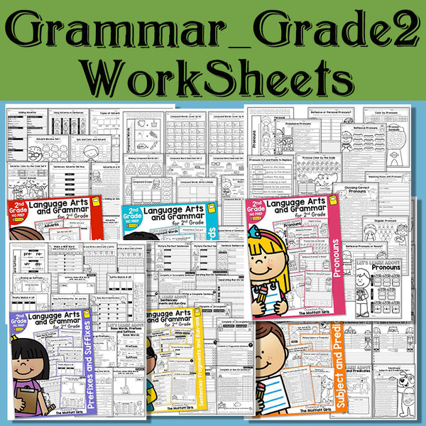 2nd Grade Language Arts and Grammar BUNDLE Wooksheet Children Learning in English language Exercise reading books for kids