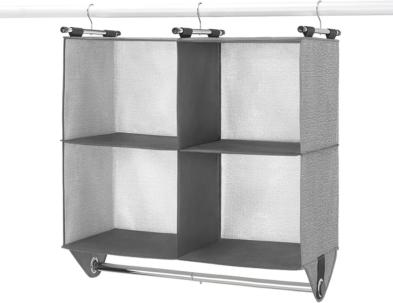 Whitmor 4 Section Fabric Closet Organizer Shelving with Built In Chrome Garment Rod $16.21