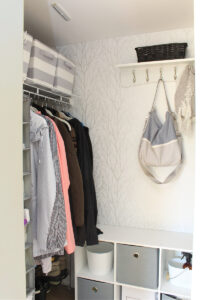 Create a pretty and organized front entry closet with these simple small closet organization idea